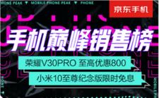 京东8月手机巅峰销售榜出炉 荣耀V30 Pro至高减800